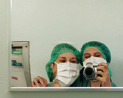 Day 351 of 365 (evaxebra) Tags: selfportrait reflection hospital mirror eva mask sony surgery medical medicine usc 365 keck hairnet scrubs facemask ewa medicalschool lacusc xebra 365days evaxebra keckschoolofmedicine pruska losangelescountyhospital ewapruska