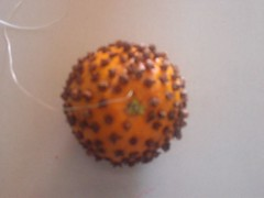 Orange stuffed with cloves