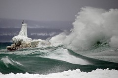 Huge Wave Crashes on the Petoskey Breakwater (snapstill studio) Tags: winter white storm cold ice waves michigan smooth lakemichigan powerful breakwater ghiaccio petoskey littletraversebay yesioverdiditwithpetoskeytagsandnotesandsuchbuticantletodalaighhavethemostrelevantpetoskeypic
