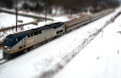 Mini Amtrack (DonkerDink) Tags: snow blur train photoshop fence lights miniature day cs2 fake mini adventure amtrack tiltshift takeabow d40 minifake worththetrip thisisreallyalargetrain trainsthissizecantbefoundinyourbasement