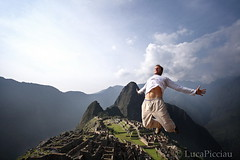 Jump to the past (LucaPicciau) Tags: city history peru southamerica picchu fog inca cuzco america lost freedom jump jumping ruins stones cusco foggy surreal perù inka lp andes salto machupicchu past aguascalientes macchupicchu incas passato jumpin huaynapicchu rovine huayna ande storia rovina inkan lupi balzo picciau lucapicciau elcuzcoperu