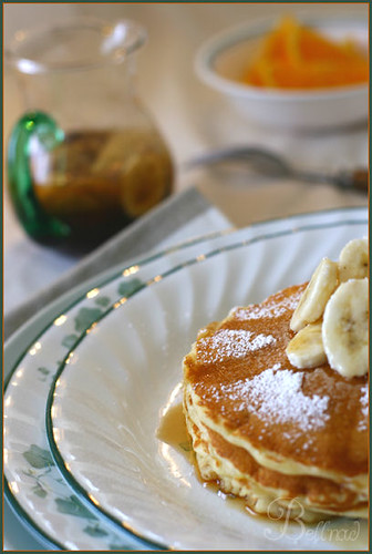 Banana pancake with banana syrup