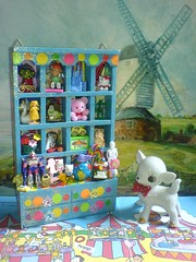 Toy Cabinet (Rainbow Mermaid) Tags: bear blue house color colour cute art childhood shop glitter kids toys miniature store rainbow colorful doll dolls child teddy bright display cabinet assemblage girly vibrant hellokitty small kitsch mini retro dotted shelf nostalgia spots busy ornament tiny shadowbox colourful dots psychedelic dresser toyshop cupboard diorama alteredart knickknack dollshouse doodad dooda rainbowmermaid