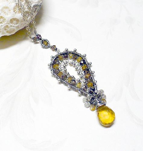 Tundura Sapphire and Citrine Necklace