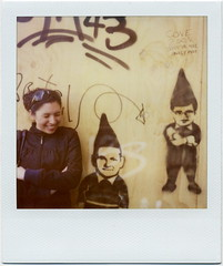 laughing it up... (golfpunkgirl) Tags: 3 streetart holland me smile amsterdam polaroid sx70 graffiti dunce landcamera alextookthis 600film expired2007