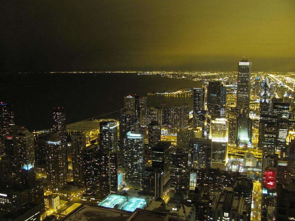 Chicago Loop and Michigan Lake at night