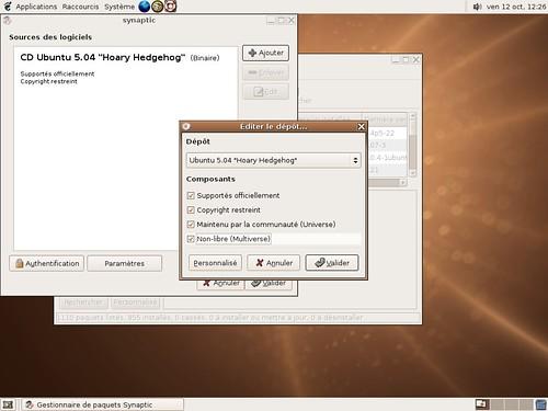 Synaptic et le fond d'écran spécifique de la ubuntu linux 5.04