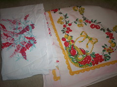 Two badly damaged tablecloths