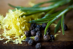 Lemon Zest, Rosemary, Peppercorns