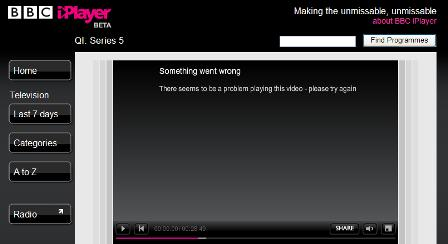 iPlayer error message