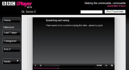 iPlayer error message