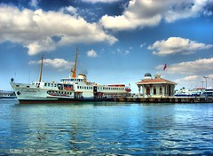 Bostanci, Istanbul, Turkey (Mine Beyaz) Tags: blue sea cloud water clouds turkey boats boat turkiye istanbul deniz mavi iskele vapur soe bulut turkei blueribbonwinner 5photosaday 25faves shieldofexcellence minebeyaz
