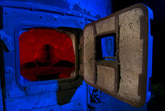 Red, Hot & Blue (Noel Kerns) Tags: lake abandoned night texas echo furnace fortworth incinerator