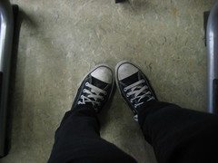 Me & my AllStars during geography class. (Marlonnie) Tags: school white black table shoe shoes floor pants class sneakers converse trousers chucks laces allstars
