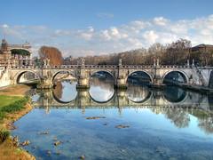 Ponte Sant'Angelo, Rome (**Anik Messier**) Tags: christmas bridge sunset italy holiday rome roma italia pont hdr italie lazio 2007 pontesantangelo anawesomeshot diamondclassphotographer flickrdiamond pontstange gettyimagesitalyq1