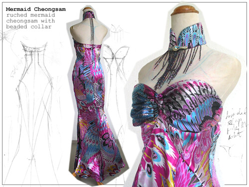 asymmetrical circle cheongsam in silk chiffon