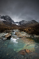 Allt na Dunaiche Looking To Bla Bheinn and Clach Glas (David Kendal) Tags: mist mountains skye river landscape rocks aqua stream moody isleofskye pebbles blabheinn aplusphoto alltnadunaiche