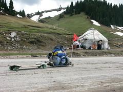 The rig meets a yurt near Santai, Xinjiang Province, China
