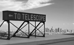 telescope (richietown) Tags: california city blackandwhite bw sign topv111 canon la losangeles downtown cityscape view bokeh observatory telescope griffithobservatory griffith 30d 50mm18 abigfave richietown