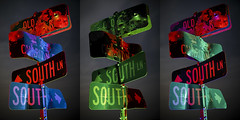 Street Sign Triptych (Notley Hawkins) Tags: rural missouri notley notleyhawkins 10thavenue httpwwwnotleyhawkinscom missouriphotography notleyhawkinsphotography lightpainting bluelight greenlight blue green night nocturne 光绘 光繪 lichtmalerei pinturadeluz ライトペインティング प्रकाशपेंटिंग ציוראור اللوحةالضوء abandoned longexposure ruralphotography chartitoncountymissouri red redlight rgb outdoor 2017 february riverbottoms missouririverbottoms signs streetsigns bulletholes trio triad triptych