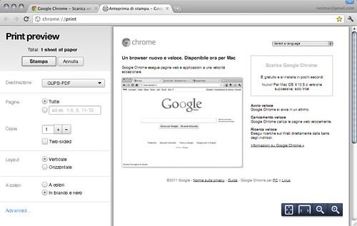 Chrome Canary Build - Print preview