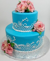 Lace + Pink Roses Cake (Edible Delights) Tags: pink blue wedding roses rose cake lace edible piping tier fondant gumpaste