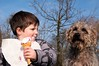 "DSC_0044 - ""Don't even think about it!"" (SWJuk) Tags: park uk england home dogs riley george spring nikon lancashire terrier nephew icecream burnley 2014 d90 terriermix towneley towneleypark thelittledoglaughed nikond90 swjuk mar2014"