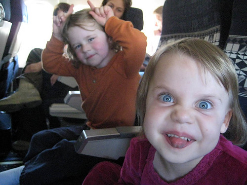 Aedan and Kate on the plane