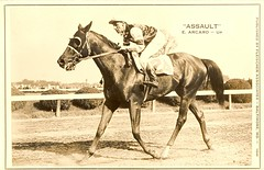 "The Great Racehorse ""Assault"" - Famous Winner of the 7th Triple Crown and Jockey Eddie Arcaro (sunnybrook100) Tags: horse belmont kingranch assault preakness horseracing racehorse thoroughbred pimlico horserace triplecrown kentuckyderby belmontstakes racinghalloffame horseoftheyear arcaro eddiearcaro maxhirsch warrenmehrtens"