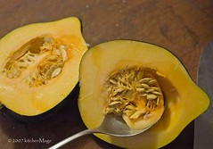 scooping out the squash seeds