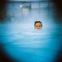 submerged (sgoralnick) Tags: blue 120 film andy swimming square iceland holga kodakportra400vc steam submerged vignetting geothermal bluelagoon hotsprings grindavik andyclymer