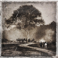 battle under the shade of the tree (Jeff Rinehart  (almost back in action)) Tags: road blackandwhite tree sepia vintage war smoke south union north battle textures civilwar faux soldiers layers battlefield toned distressed tinted fauxvintage instantfave platinumphoto superbmasterpiece jeffrinehart avertedvision
