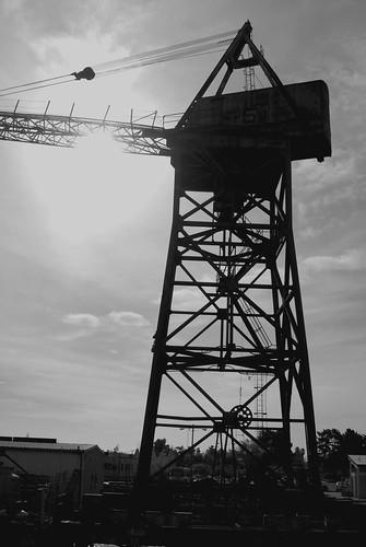 Black and White Ship Crane