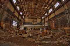 Empty Factory - HDR (mikefurgang) Tags: ny factory grunge dirty messy oil albany destroyed hdr highdynamicrange 15mmfisheye