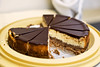 Chocolate topped baked cheesecake, 39/366 (HelenPalsson) Tags: food cake chocolate cheesecake crumbs tupperware bakedcheesecake 20080208
