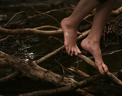 foot study (parade in the sky) Tags: trees feet nature water tattoo creek outdoors sticks branches bodylanguage naturallight catherine zen balance bolpark