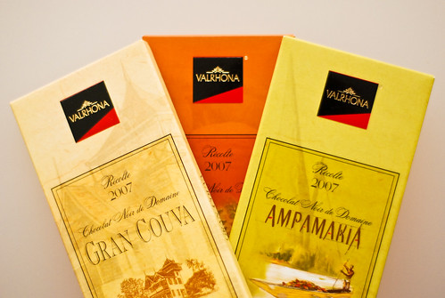 Valrhona. Single Estate 2007 editions of Grand Couva, Ampamakia & Palmira
