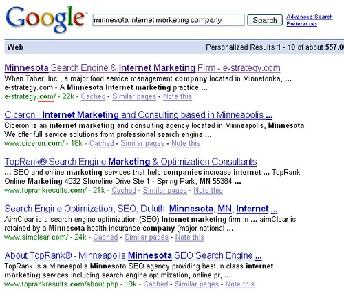 "Google ""Minnesota Internet Marketing Company"" Search Results - 03/15/08"
