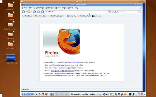 Firefox 2.0.0.13 dans une Mandriva 2008.1 64bits sous KVM