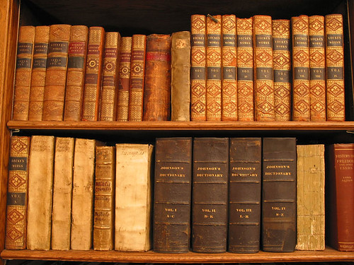 Book shelf of old books