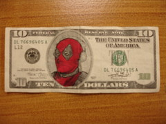 Deadpool Hamilton (Joe D!) Tags: money comics d 4 hamilton 7 joe 420 chan government 711 marvel presidents tender defaced chimichanga dollars 240 joed deadpool refacing