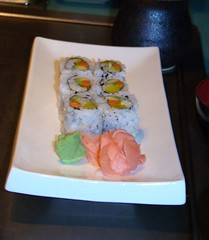 Veggie rolls pickled ginger and wasabi paste