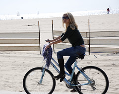 Venice Beach, Italian Blonde (Pulicciano) Tags: california venice sea sun sexy beach bike losangeles model italian sand women boots body bikes jeans blonde actress pulicciano
