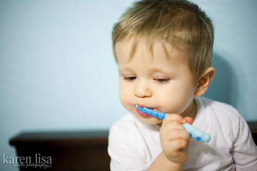 Brushing my teeth!