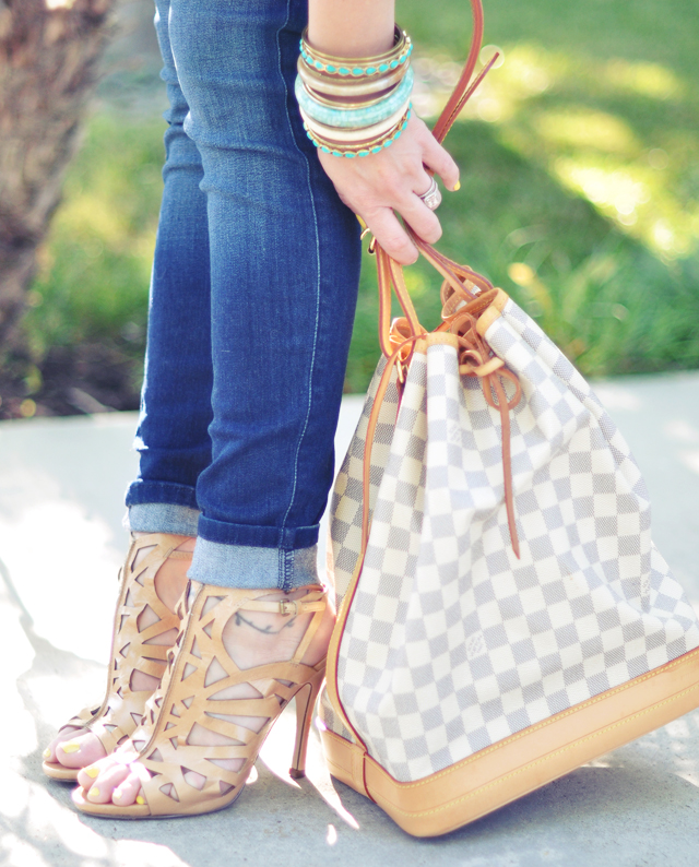 louis  vuitton  bucket bag + jeans + turquoise bangles +nude cut out heels