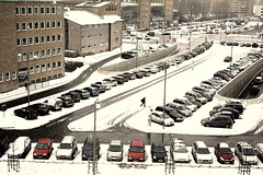 Winters day (Beata Rydn) Tags: city winter snow grey sweden gothenburg parkingspot