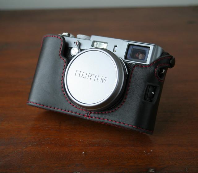 Details about Mr  Zhou Black Red Stitching Half Case f Fuji Fujifilm X100