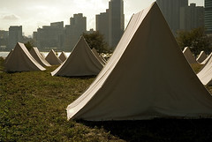 The Encampment (sametomorrow) Tags: newyorkcity art canon tents rooseveltisland ohny openhousenewyork southpointpark