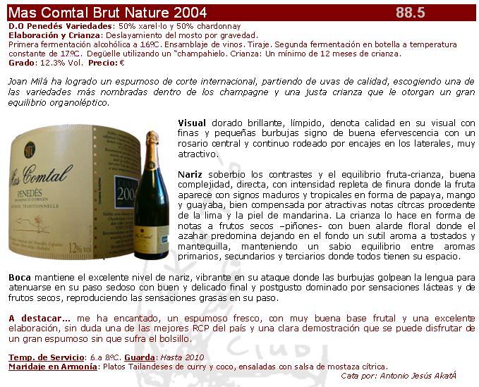 Ficha Mas Comtal Brut Nature 2004
