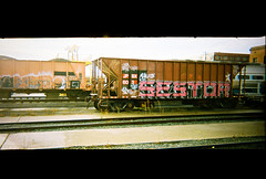 graffitied train cars